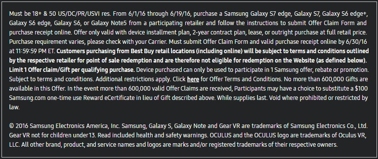 Gear VR for free terms